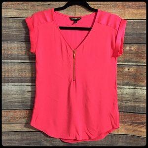 Express hot pink v neck zip up cap sleeve blouse